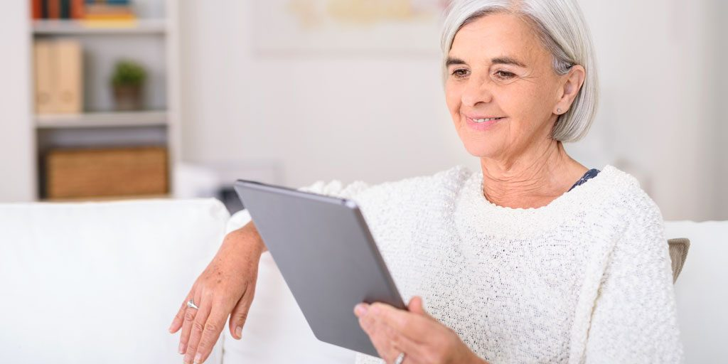 lady looking at tablet